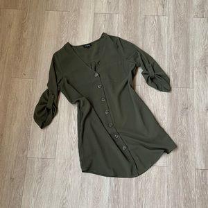 Eclipse Olive Green Shirt Dress